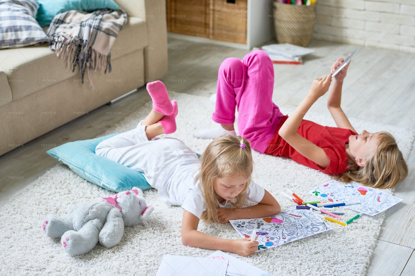 Sisters Playing At Home: Stock Photos