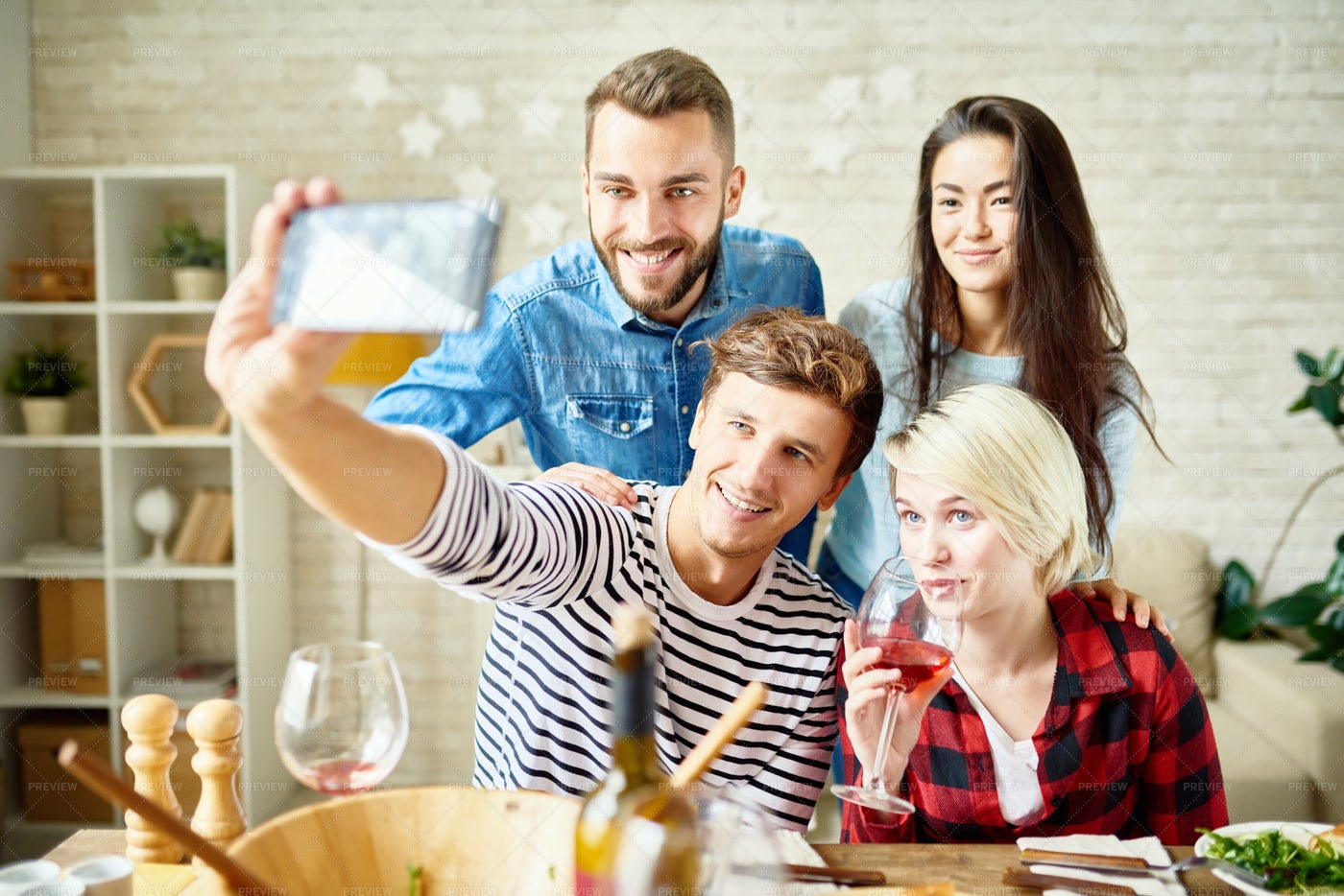 Friends Taking Selfie At Dinner: Stock Photos