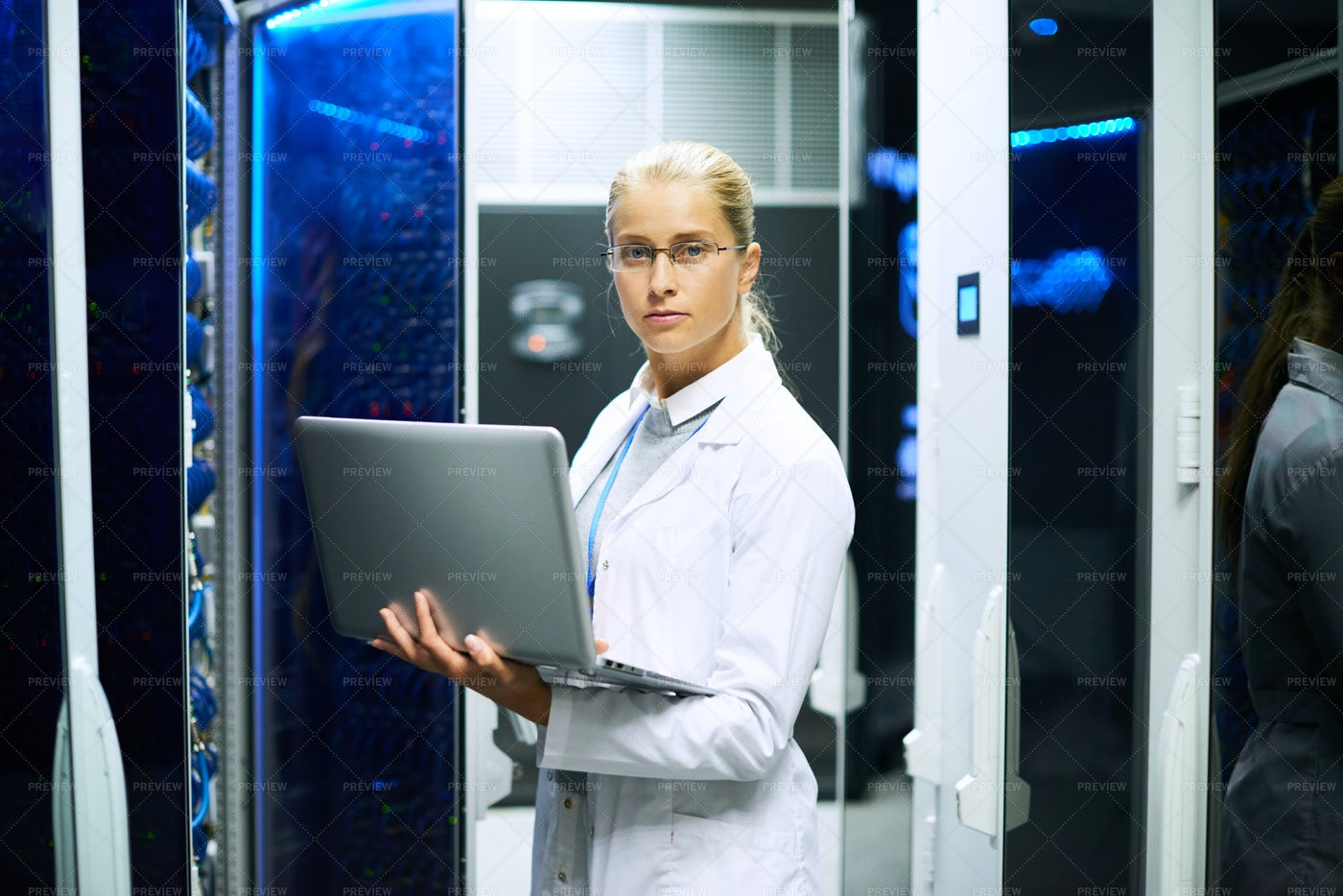 Female Scientist Posing With...: Stock Photos