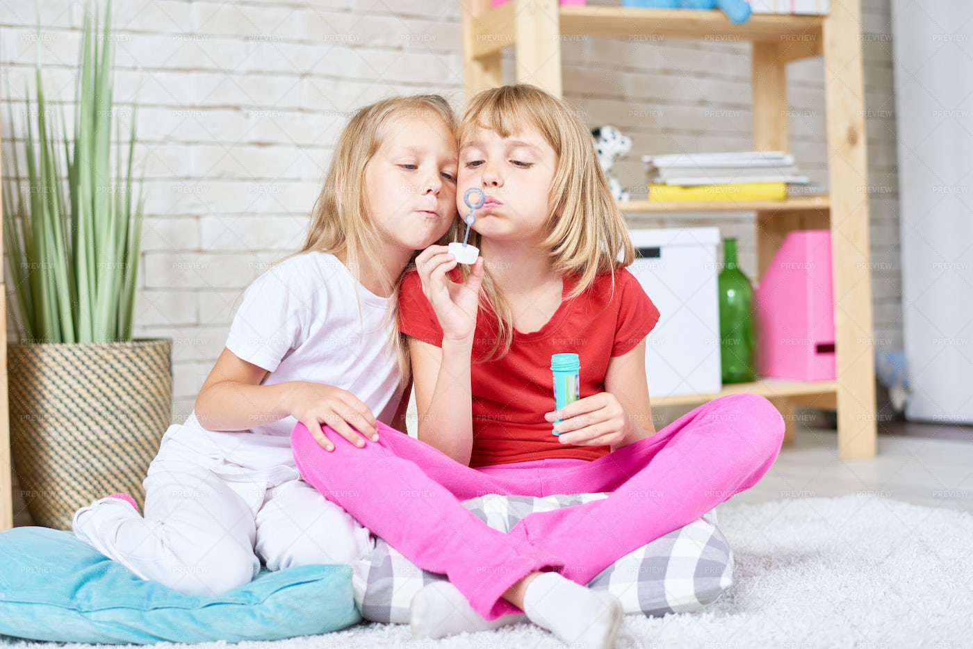 Cute Sisters Blowing Bubbles: Stock Photos