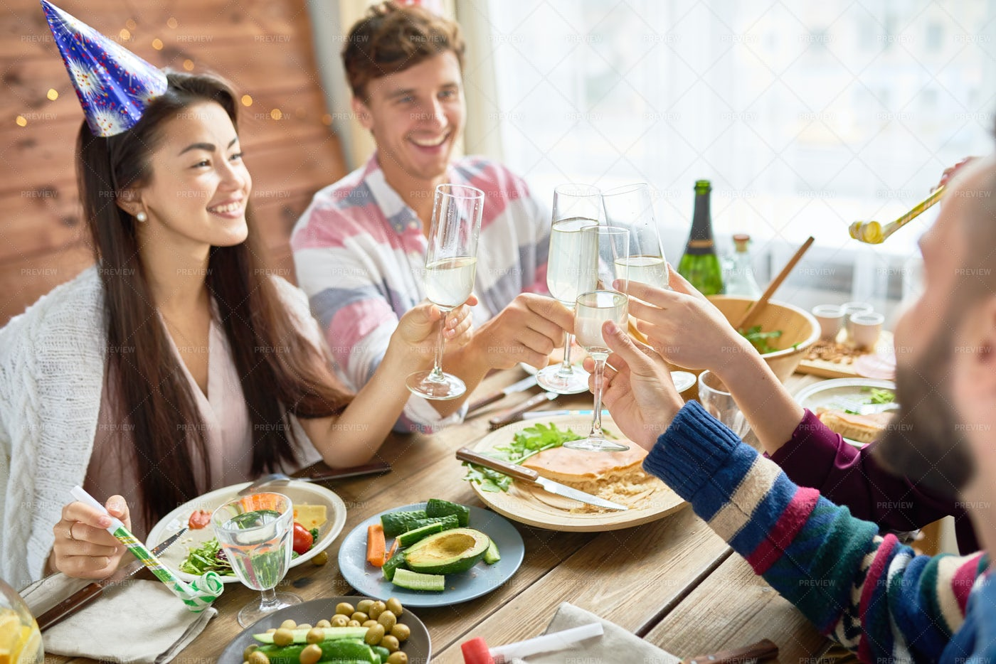 Happy Asian Woman Celebrating...: Stock Photos