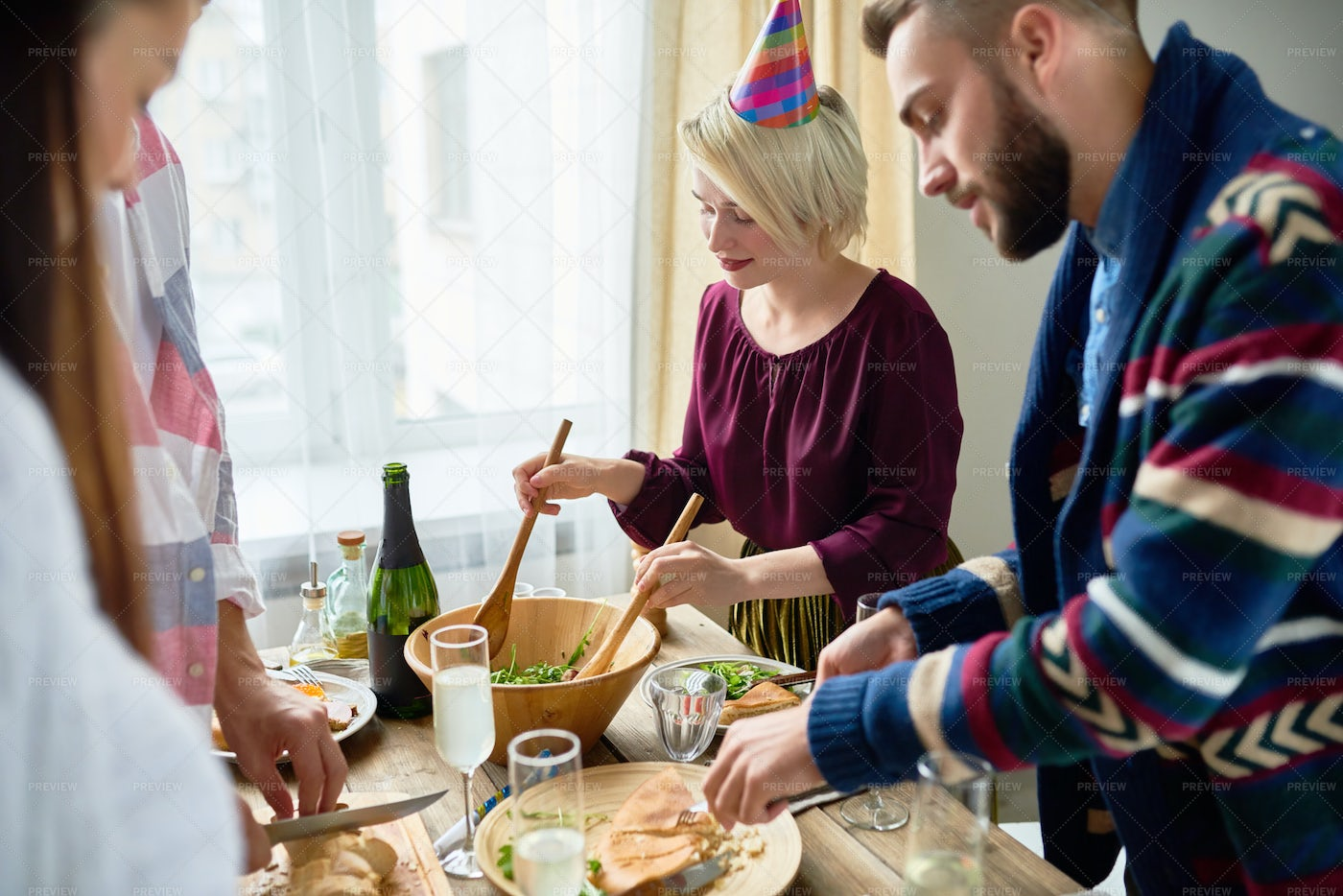 Group Of Friends At Dinner Party: Stock Photos