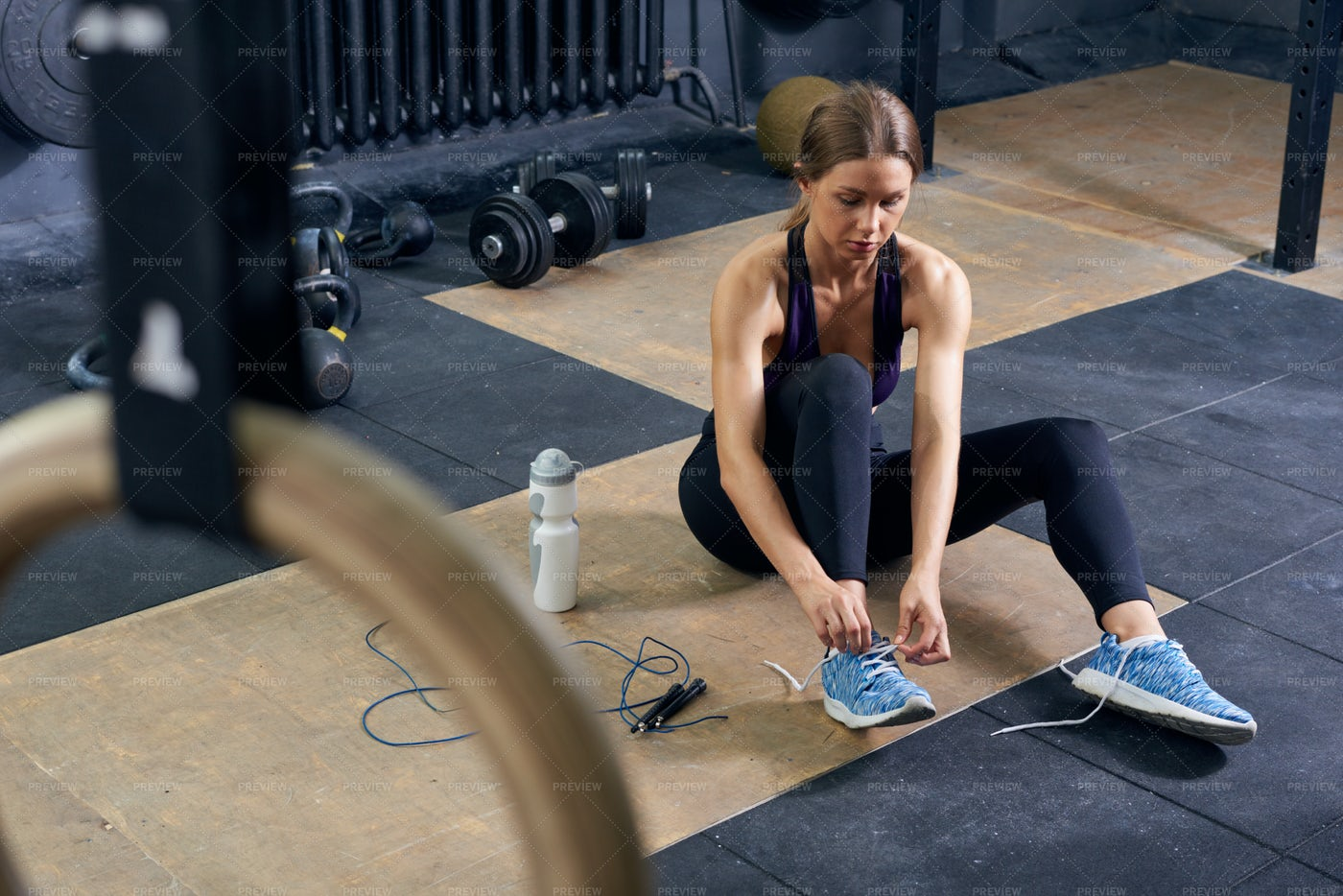 Female Athlete In Modern Gym: Stock Photos