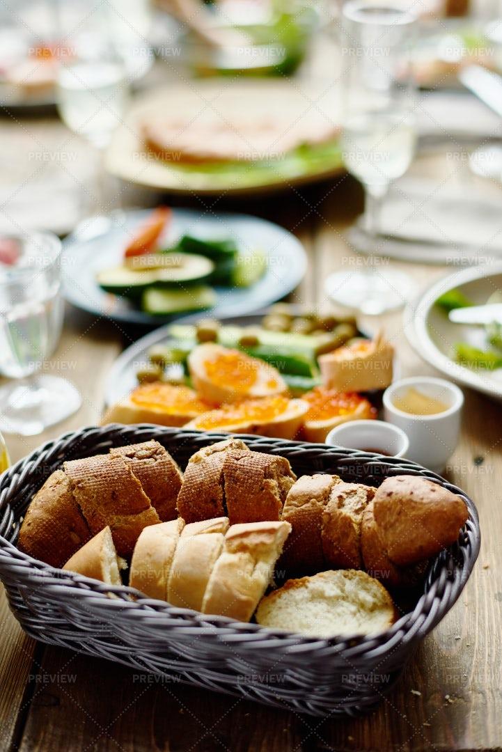 Freshly Baked Bread On Dinner Table: Stock Photos