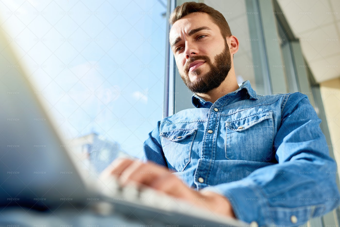Business Student Using Laptop In...: Stock Photos