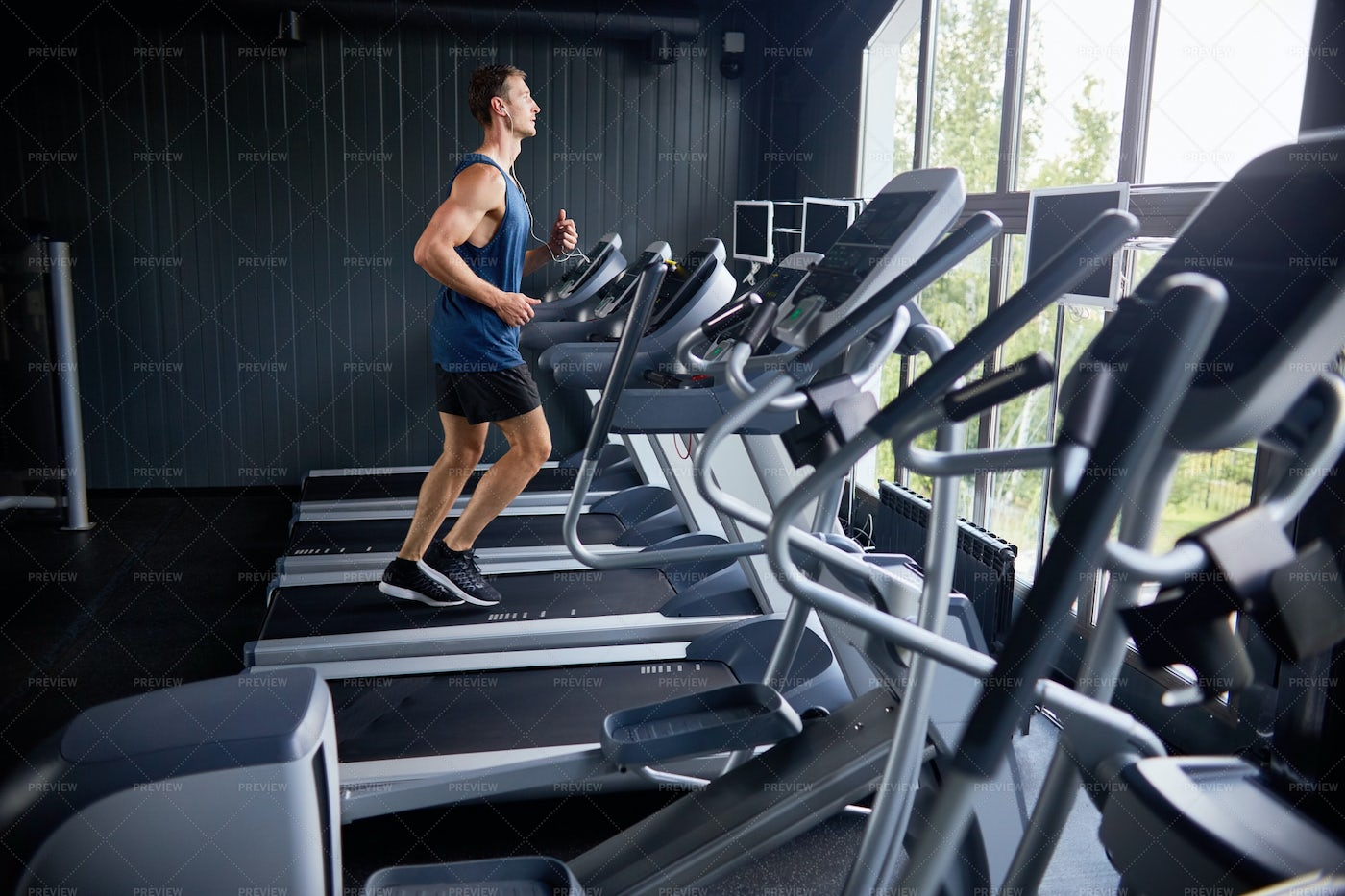 Intensive Training At Sports Center: Stock Photos
