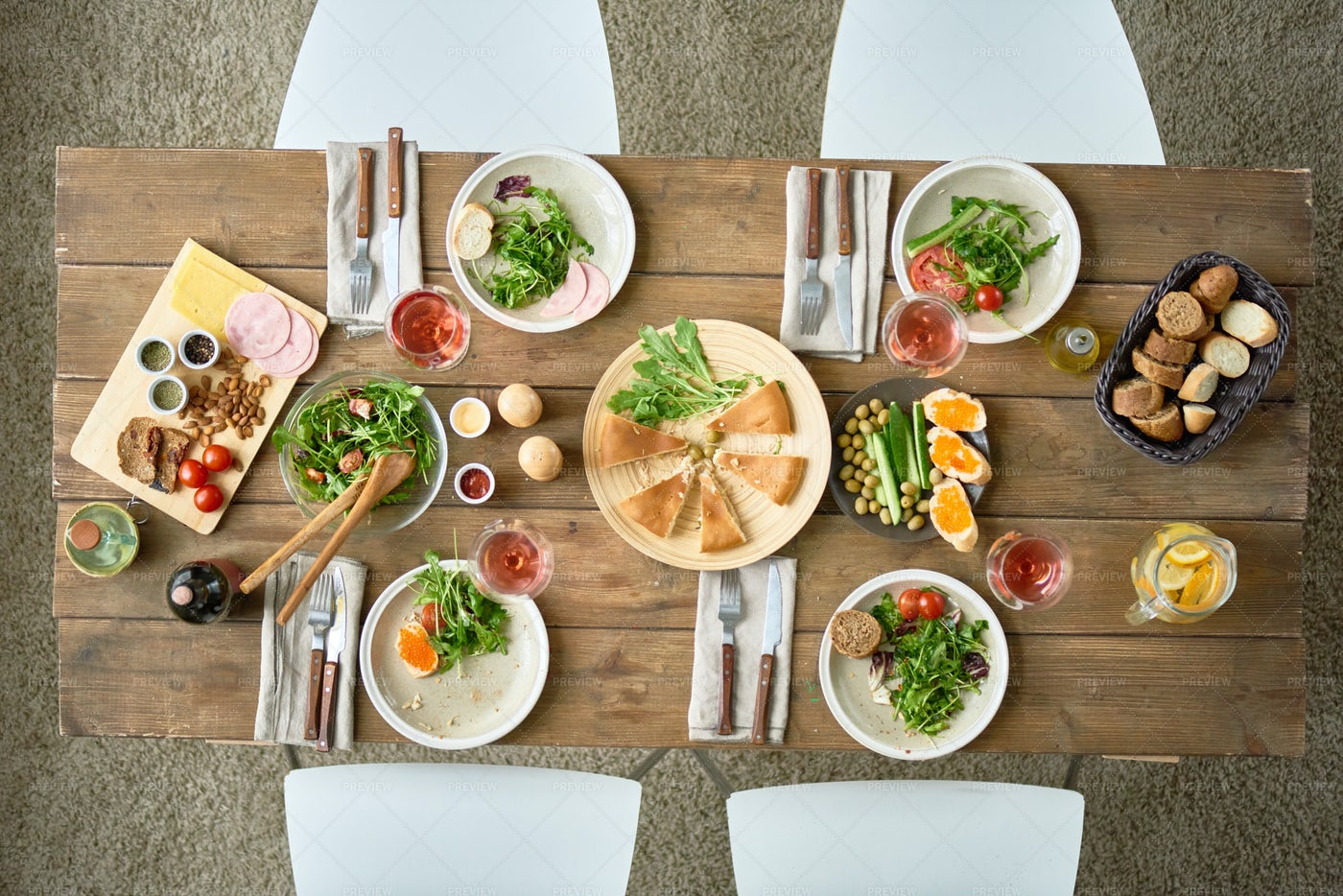 Above View Of Festive Dinner Table: Stock Photos