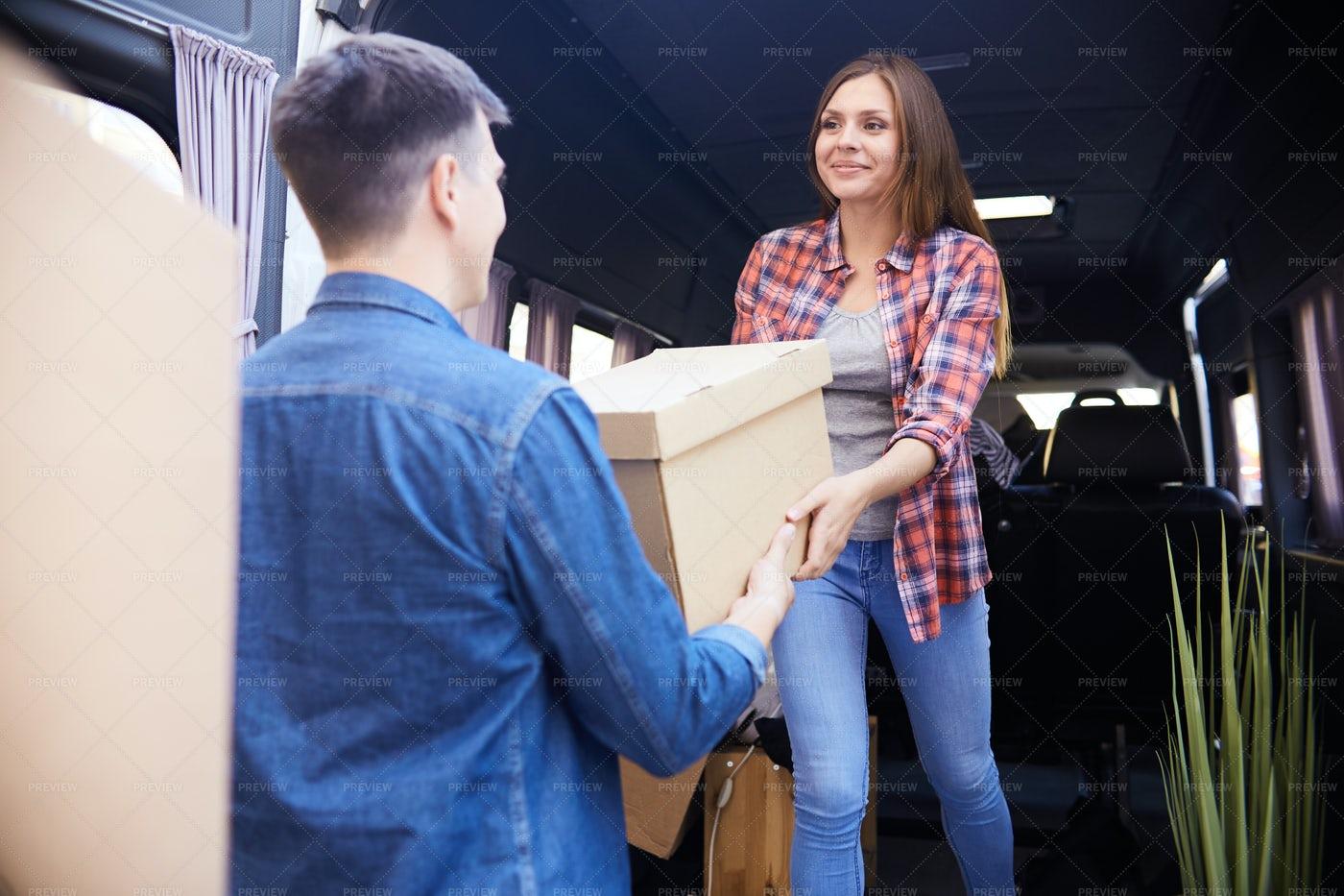 Couple Loading Moving Van: Stock Photos