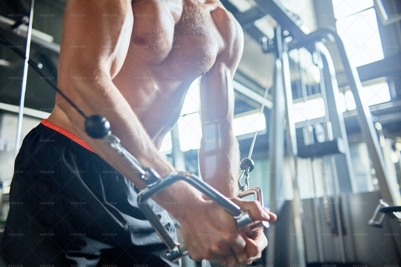 Muscular Man Focused On Training: Stock Photos