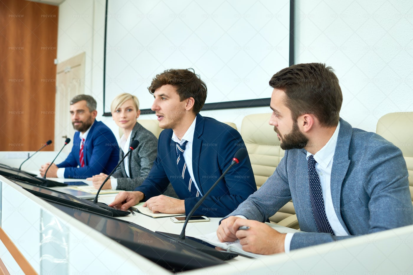 Young Politician Speaking In Press...: Stock Photos