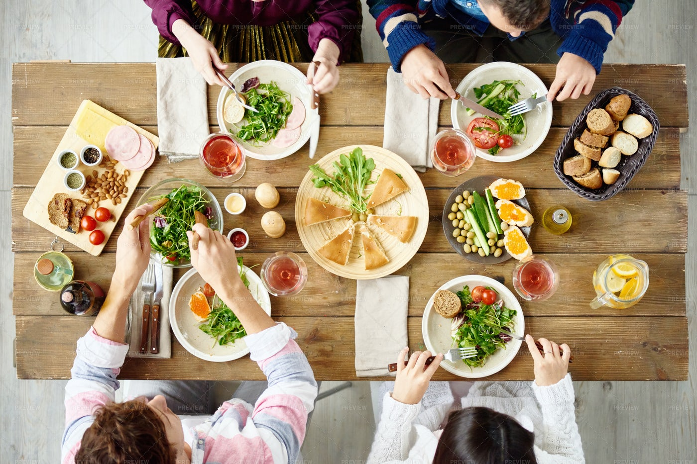 Family Gathering At Dinner Table: Stock Photos