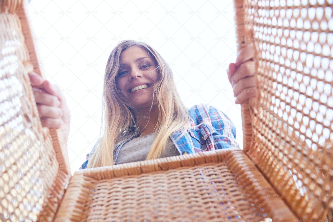 Young Woman Holding Basket: Stock Photos