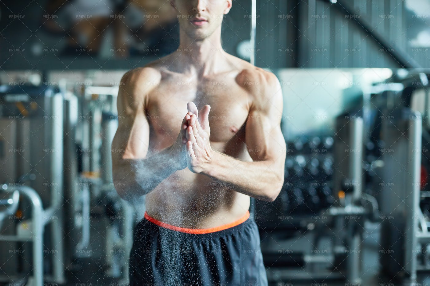 Preparing For Lifting Barbell: Stock Photos