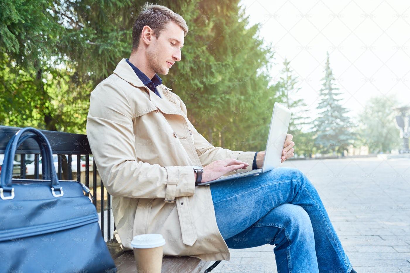 Businessman Man Using Laptop In...: Stock Photos