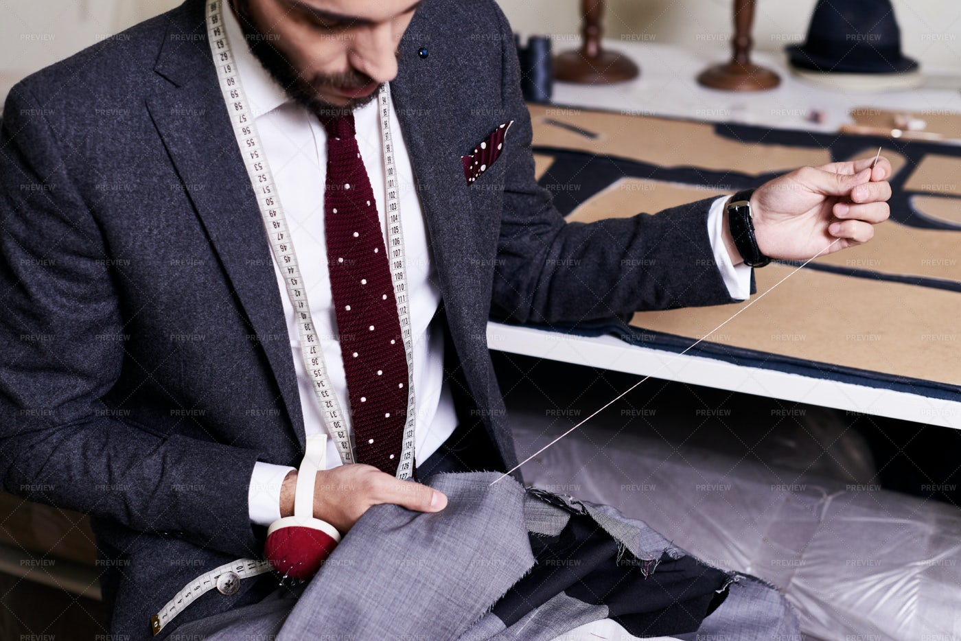 Sewing Classical Male Jacket: Stock Photos