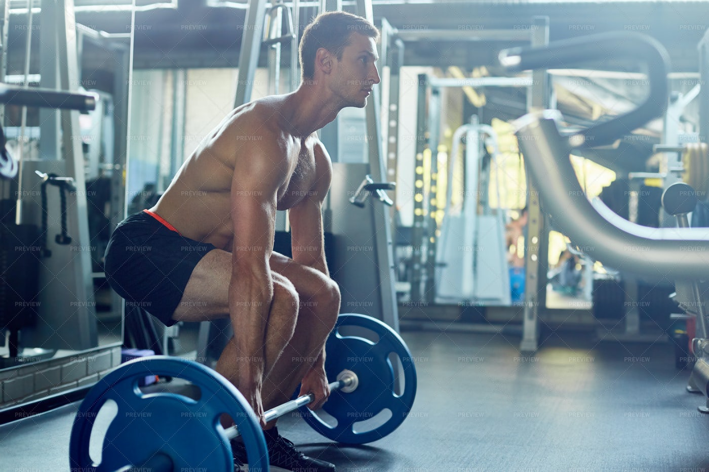 Intensive Weightlifting Training: Stock Photos