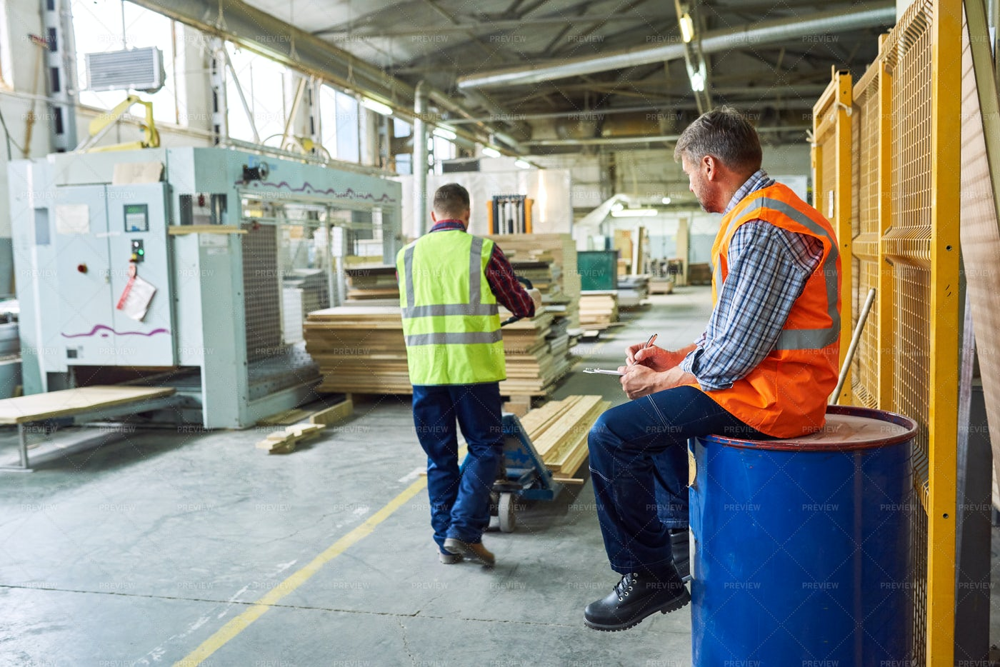 Work Process In Wood Warehouse: Stock Photos