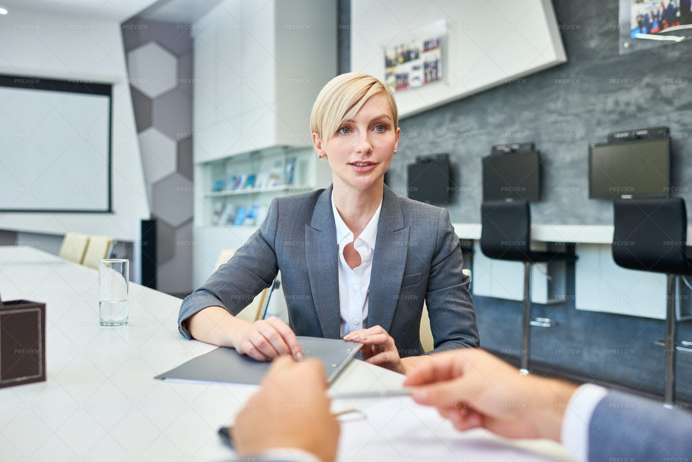 Successful Business Woman Talking To...: Stock Photos