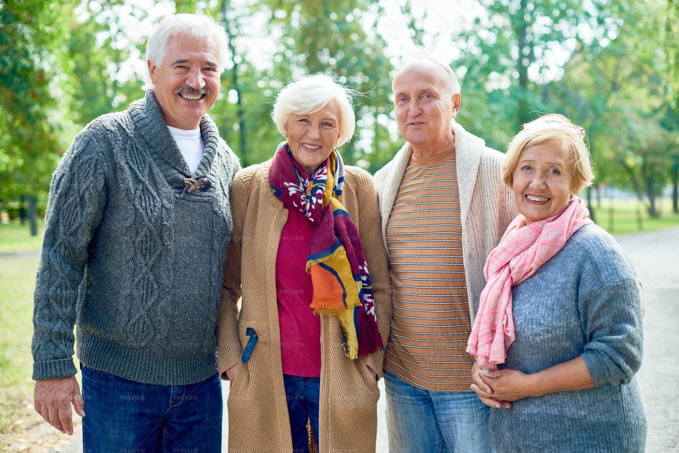 Portrait Of Smiling Senior Friends: Stock Photos