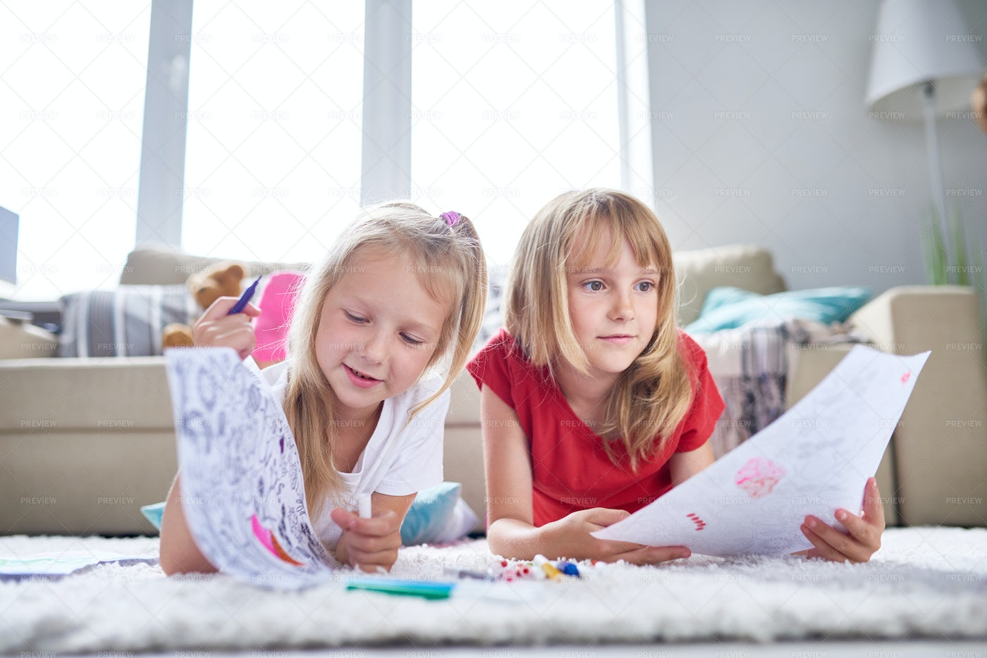 Creative Little Sisters At Home: Stock Photos