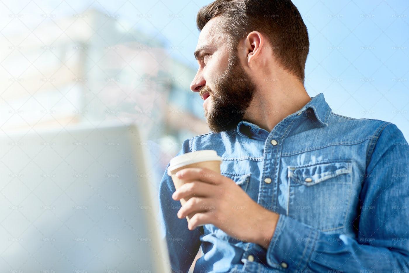 Having Coffee Break Outdoors: Stock Photos