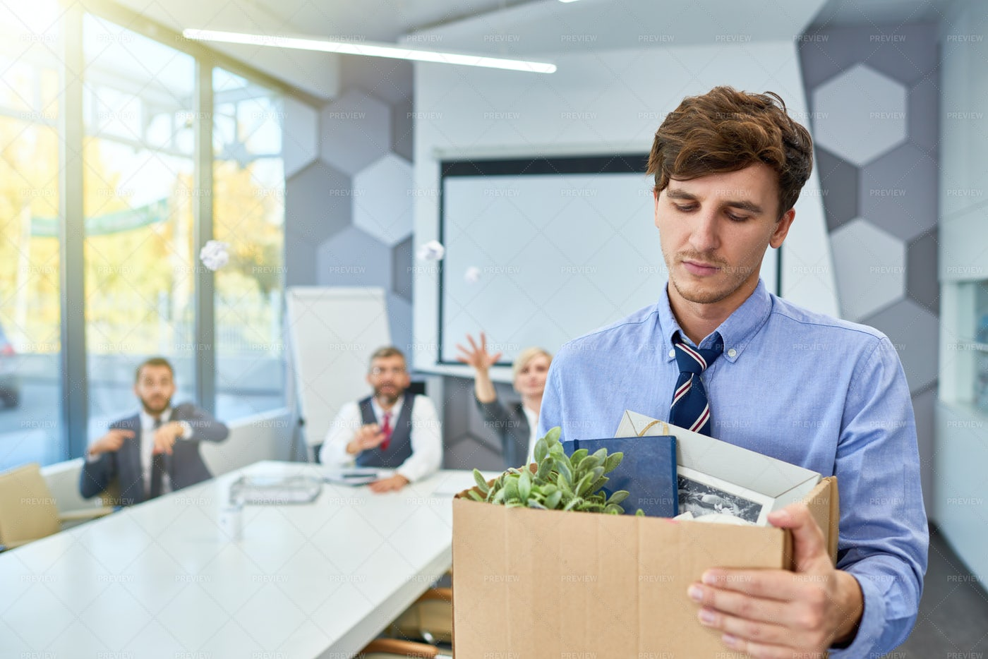 Young Man Leaving Job: Stock Photos