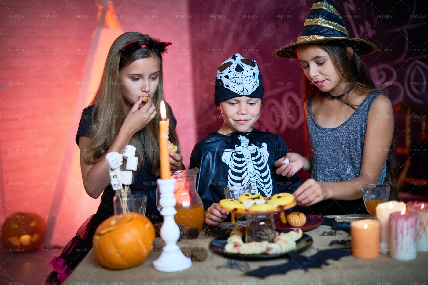 Halloween Kids Party With Candies: Stock Photos