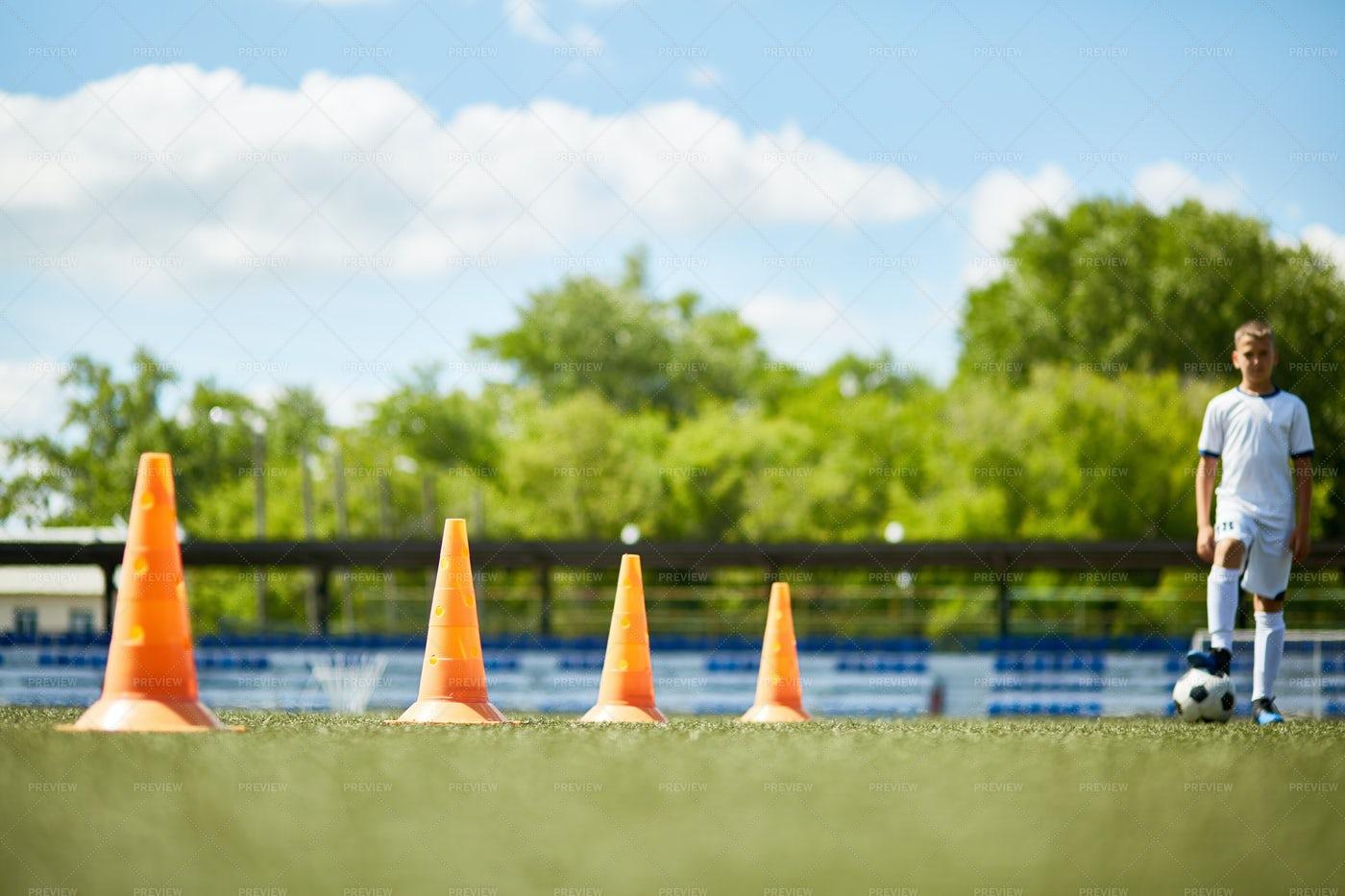 Row Of Cones In Football Field: Stock Photos