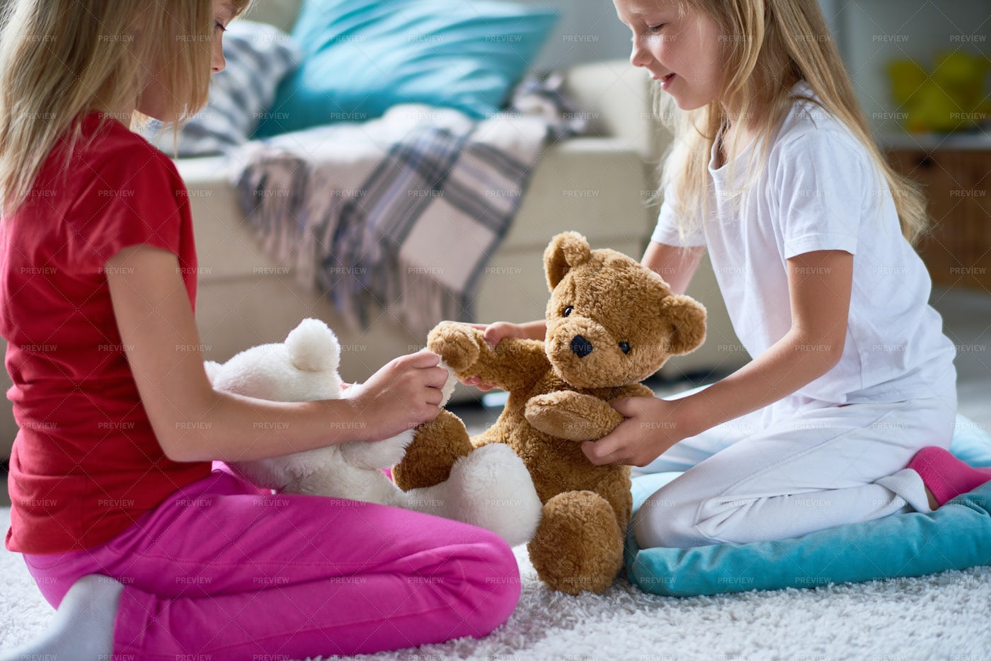 Little Sisters With Plush Teddy...: Stock Photos