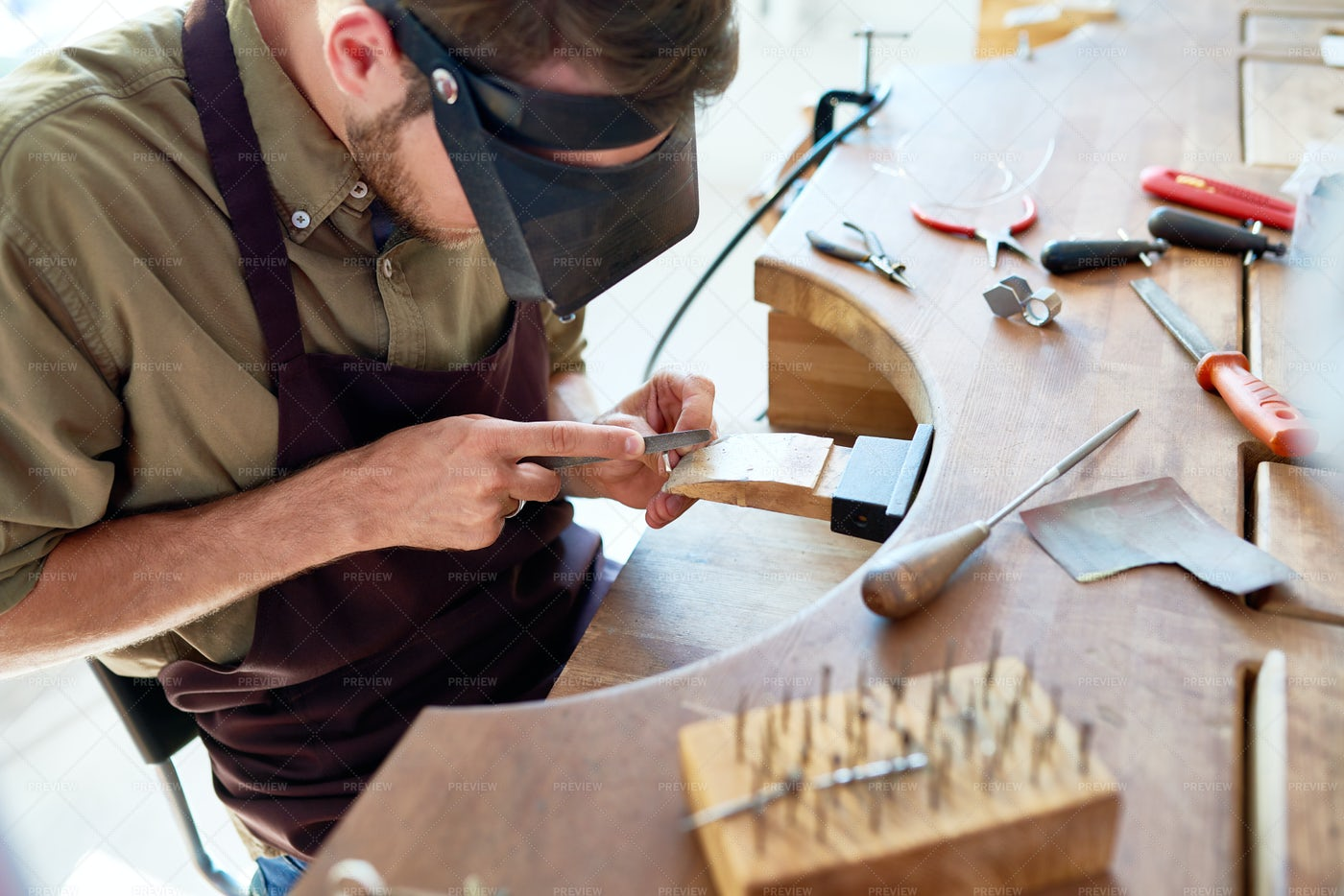 Jeweler Making Rings: Stock Photos