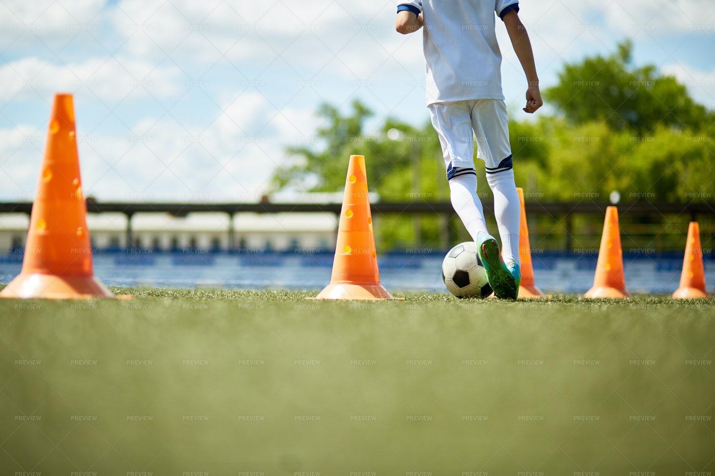 Young Boy In Football Practice: Stock Photos