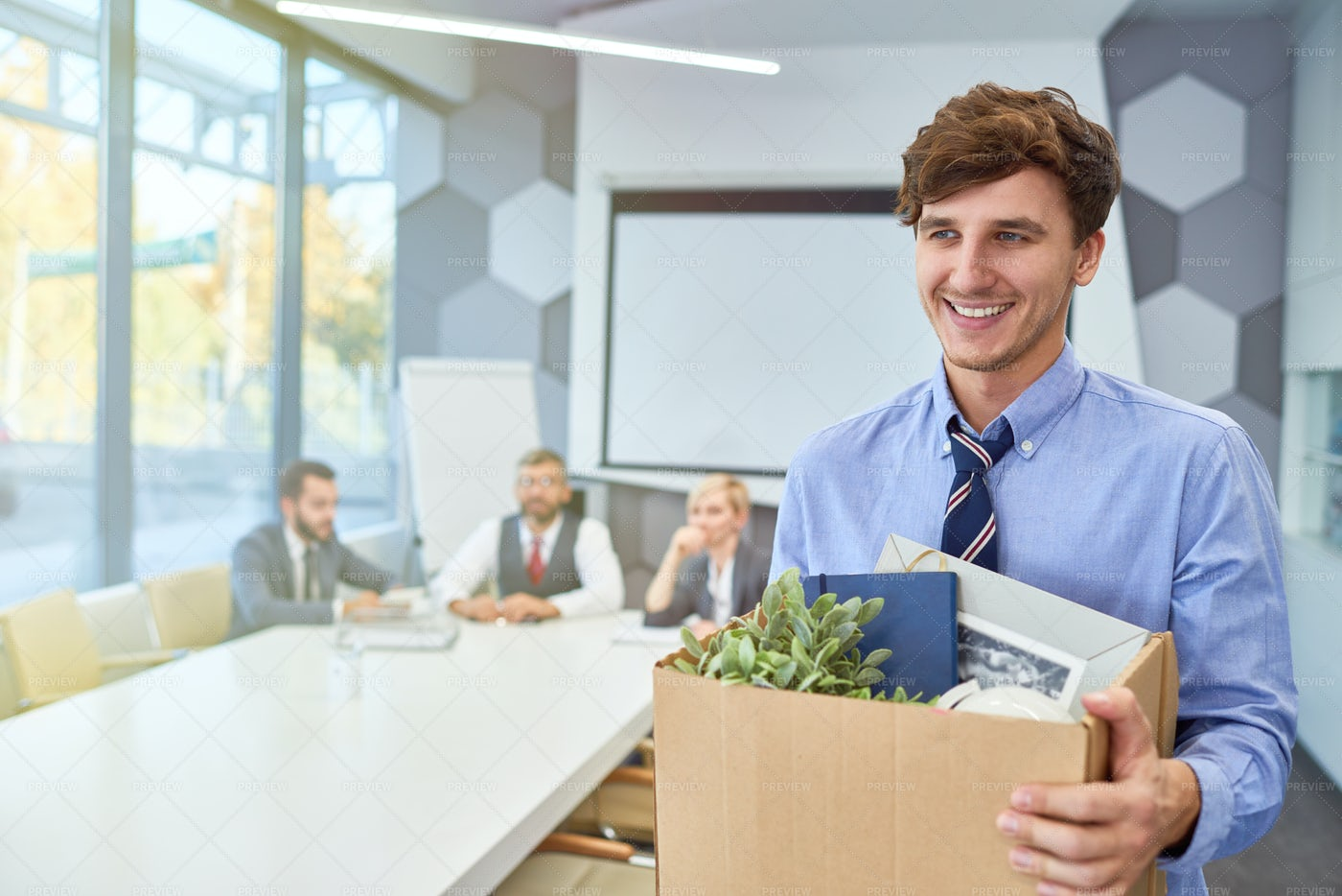 Happy Young Man Starting Career In...: Stock Photos
