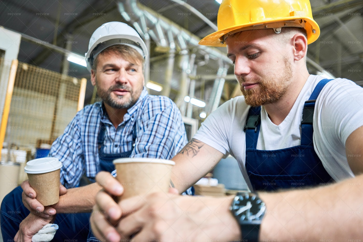 Builders On Coffee Break: Stock Photos