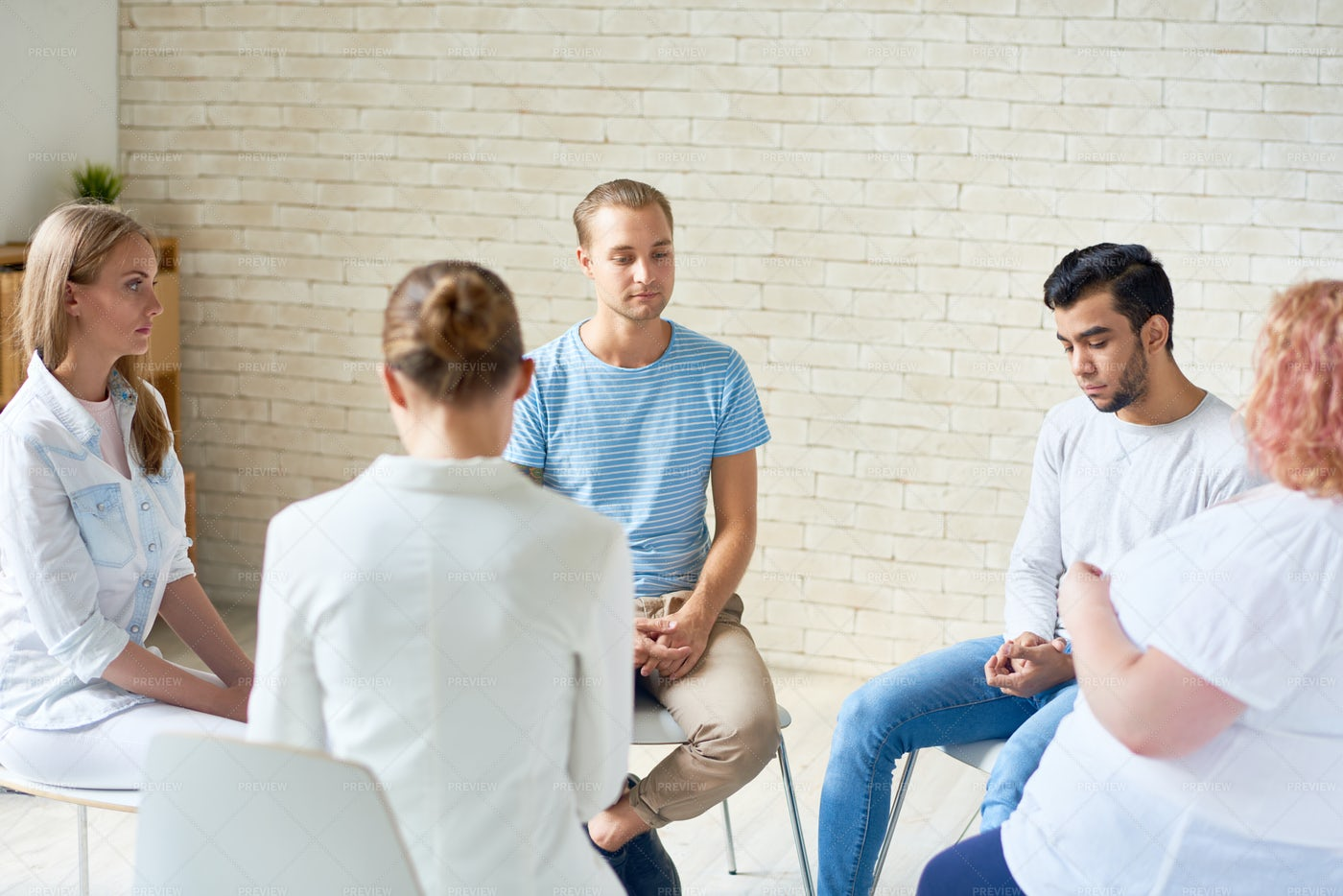 Young People In Anonymous Meeting: Stock Photos
