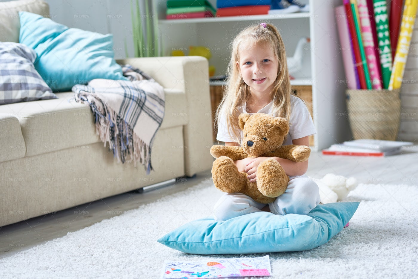 Adorable Little Girl With Teddy...: Stock Photos