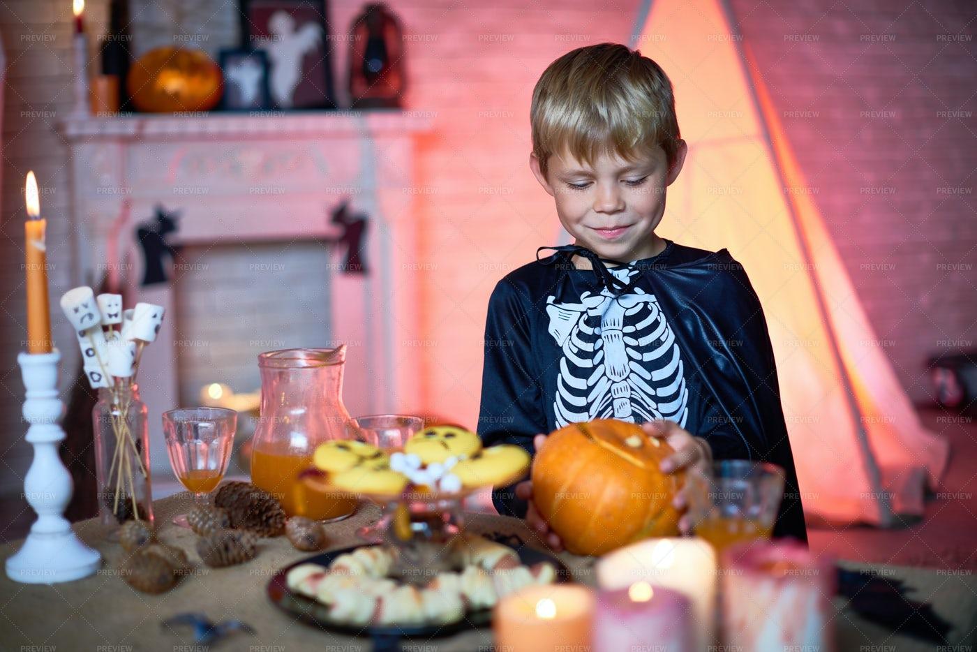 Smiling Boy In Skeleton Costume: Stock Photos