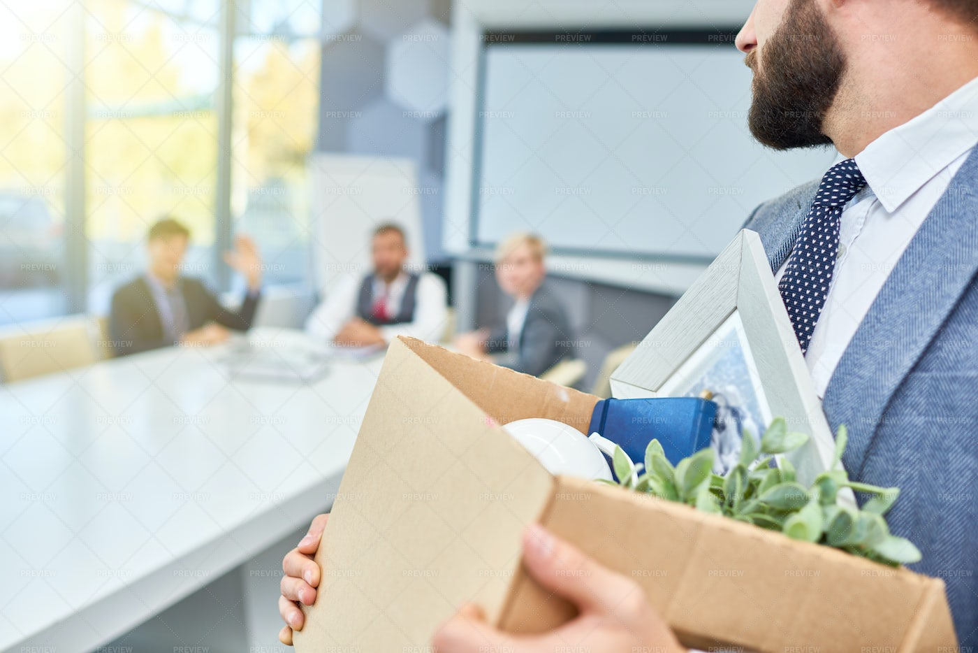 Fired Man With Box: Stock Photos