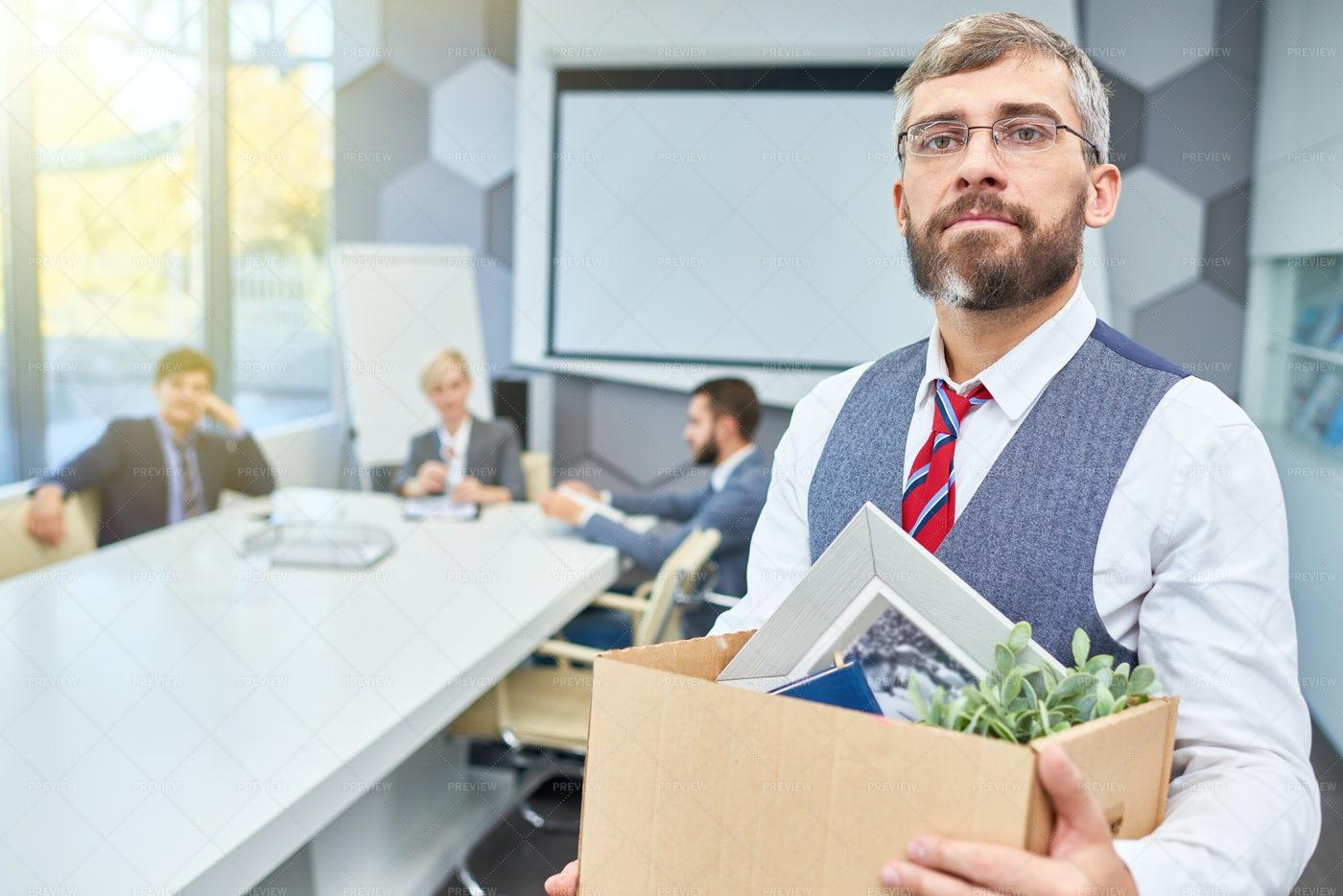 Mature Businessman Leaving His Job: Stock Photos