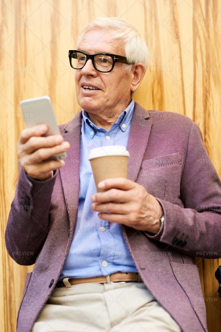 Trendy Senior Man Outdoors: Stock Photos
