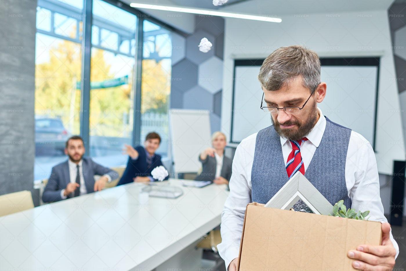Sad Bearded Businessman Fired From...: Stock Photos