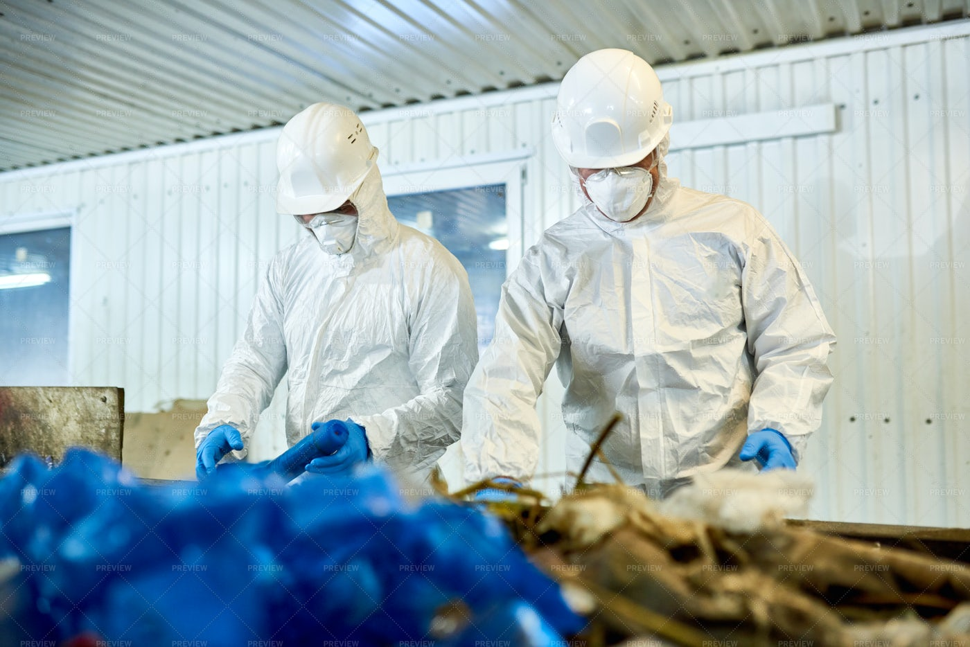 Waste Sorting On Recycling Plant: Stock Photos