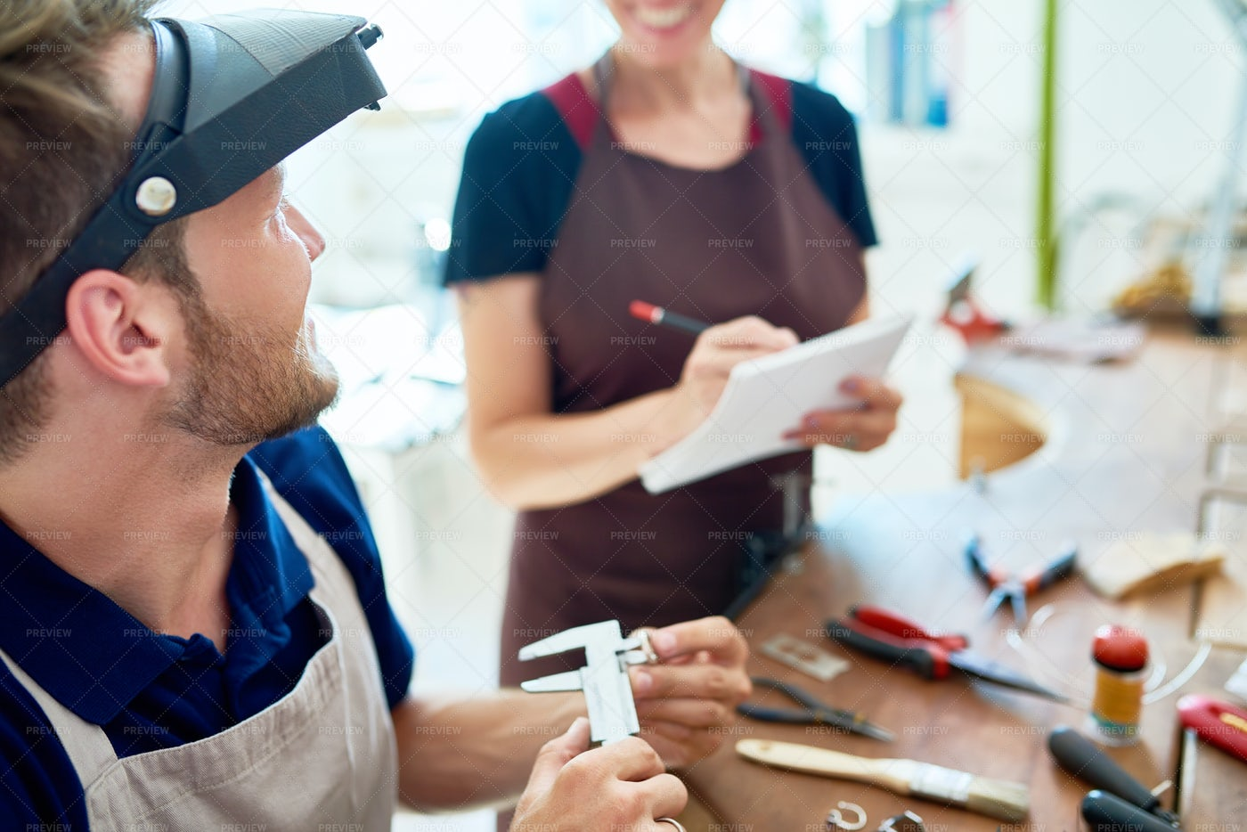 Workers In Crafting Studio: Stock Photos