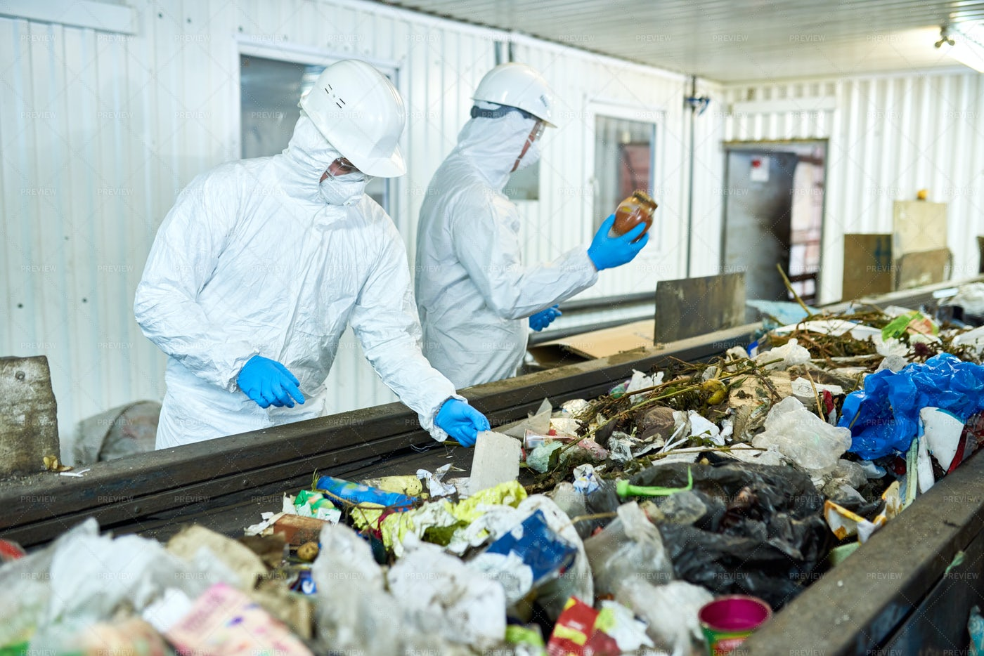Sorting On Waste Recycling Plant: Stock Photos