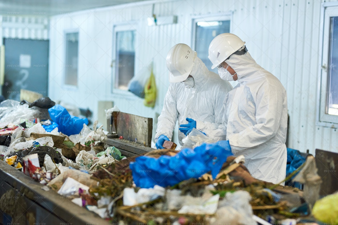 Trash Sorting On Waste Processing...: Stock Photos