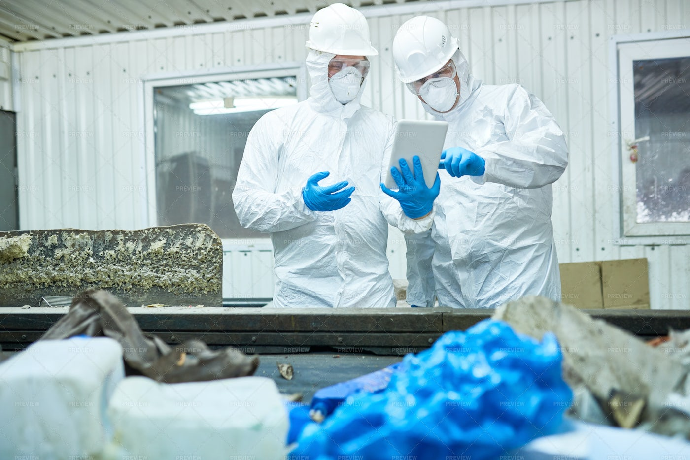 Workers At Modern  Trash Processing...: Stock Photos