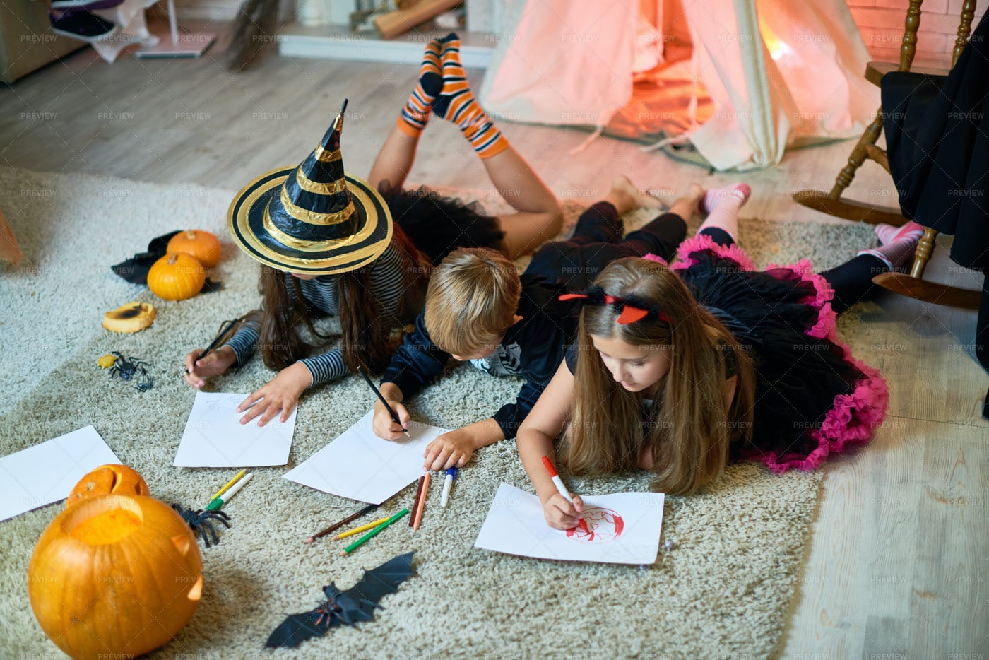 Talented Children Drawing Halloween...: Stock Photos