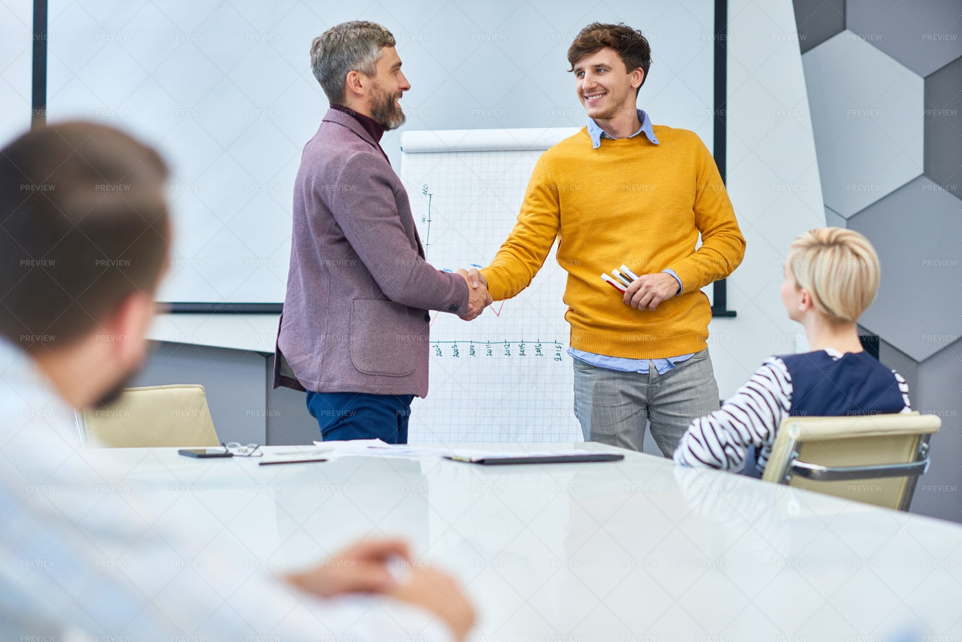 End Of Marketing Meeting In Office: Stock Photos