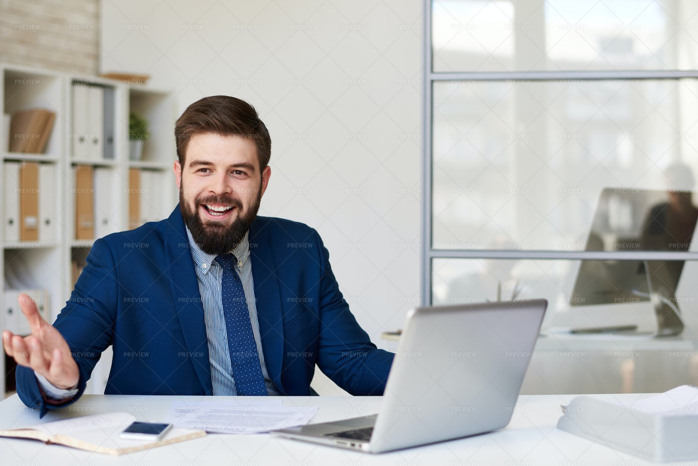 Happy Businessman In Office: Stock Photos