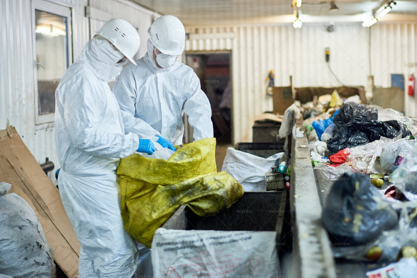 Workers Sorting Recyclable...: Stock Photos