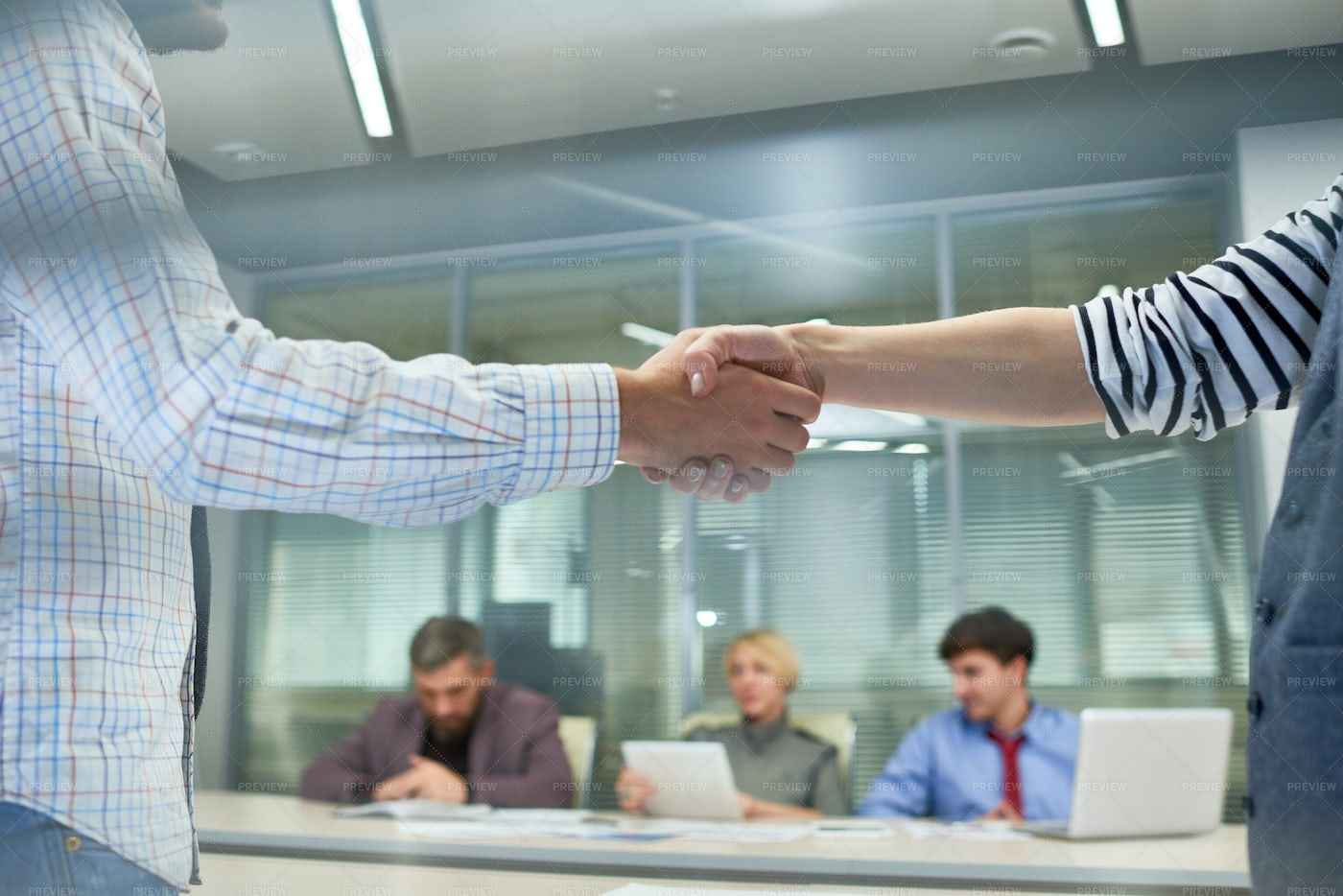 Business People Shaking Hands At...: Stock Photos